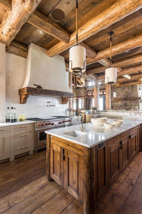log cabin kitchens kitchen rustic  pendant lighting white islands