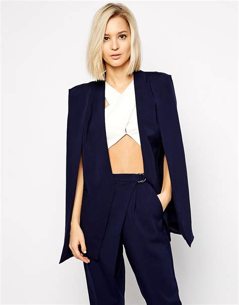 Blazer Cape Lavish Lavish Collarless Cape Blazer At Asos