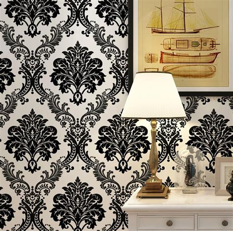 black damask wallpaper home decor vintage luxury black damask on white textured embossed
