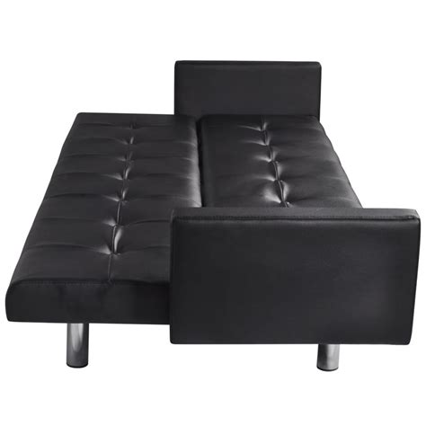 Artificial Leather Sofa Bed With Armrests Black Vidaxl Com Artificial Leather Sofa