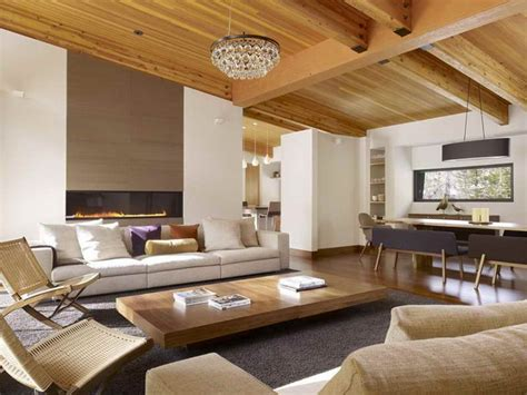ideas wood ceiling planks for modern living room wood