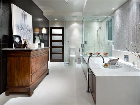 designer bathrooms pictures black and white bathroom designs hgtv