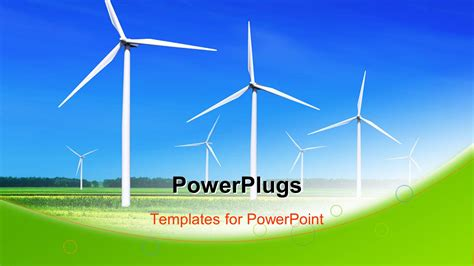 powerpoint themes wind energy powerpoint template wind turbines lined up in large field