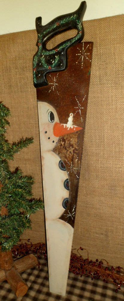 primitive wood vintage hand saw hand painted snowman