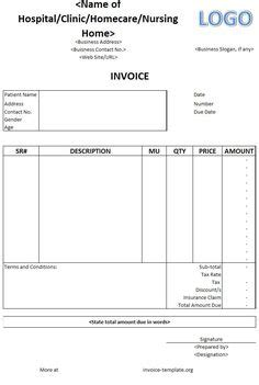 hospital bill receipt template sle export invoice export invoice format