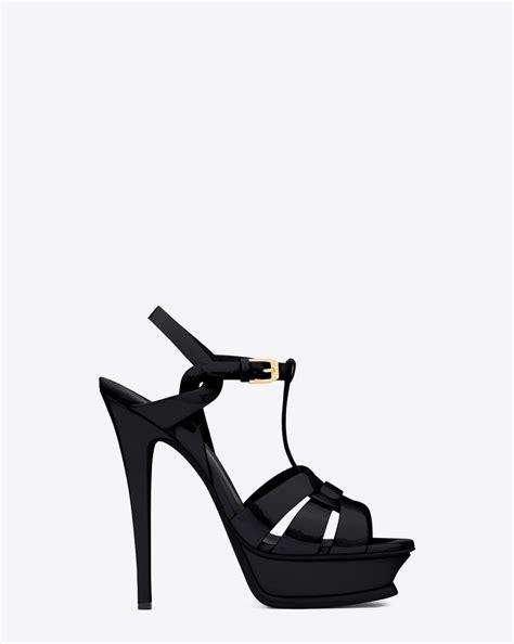 ysl tribute sandals laurent classic tribute 105 sandal in black patent