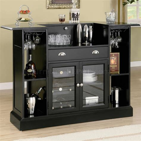 black finish modern bar unit w wine rack stemware storage
