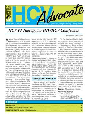 fillable online hcvadvocate hcv advocate newsletter, march