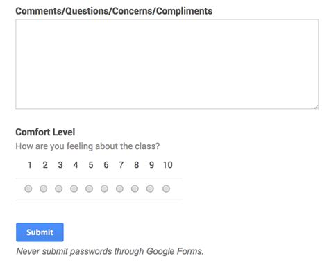 comfort level scale google forms daily sign in identifying struggling