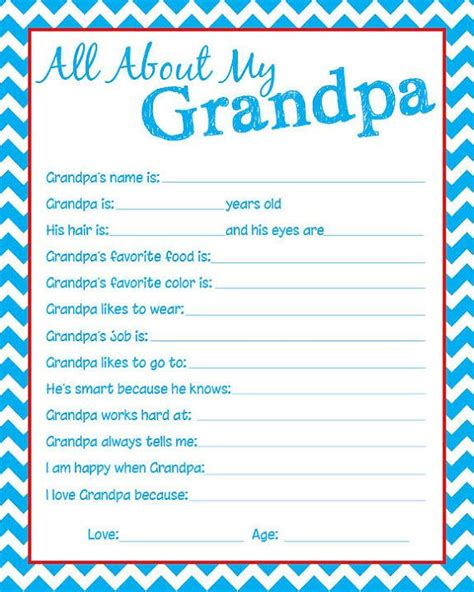 printable grandma questionnaire granpda questionnaire let the kids fill one out by