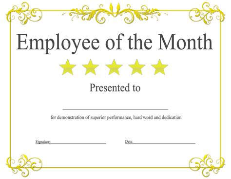 editable award certificate template epic editable template exle of employee of the month