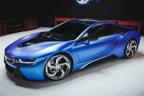 matte bmw i8 duo of matte blue bmw i8 and i3 on lexani wheels