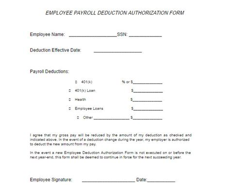 payroll deduction form employee payroll deduction form