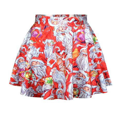 fashion cute santa claus print red polyester mini skirt