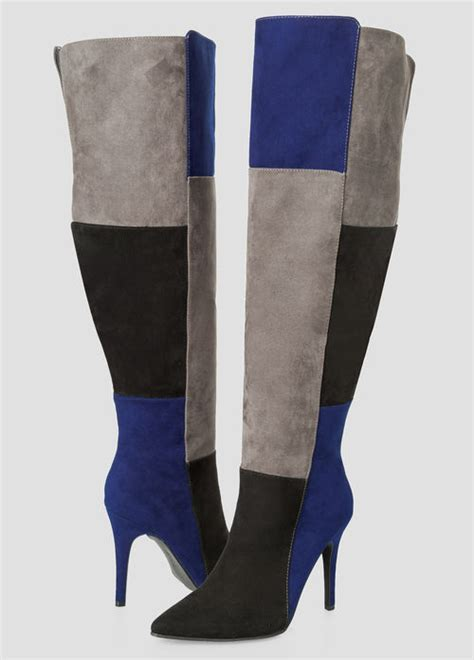 plus size the knee boots womens plus size colorblock the knee boot wide calf