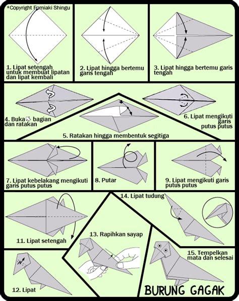 langkah mudah membuat origami burung cara membuat origami burung gagak untuk anak
