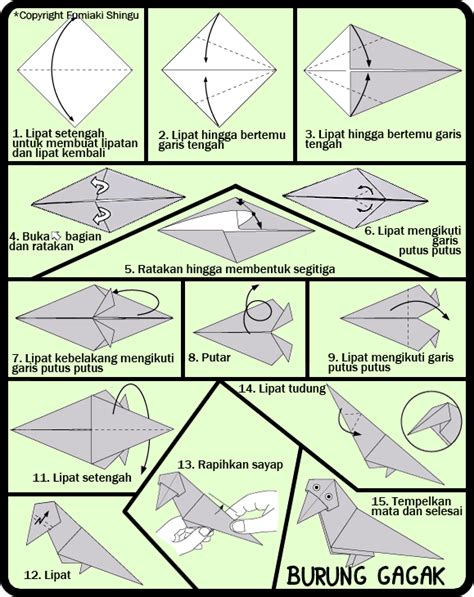 membuat origami sederhana untuk anak paud cara membuat origami burung gagak untuk anak