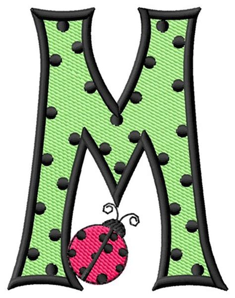 H E M P bugs embroidery design ladybug letter m from grand slam