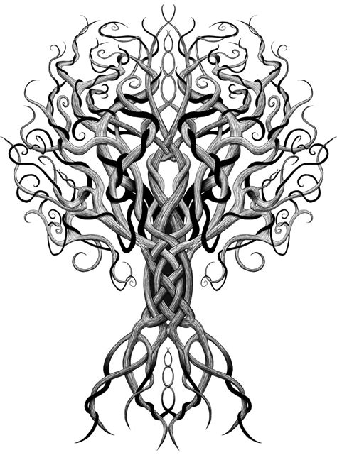 tree tribal tattoo norse spiritualism forn sidr heathenism northern