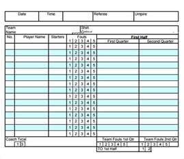 Basketball Score Sheet Excel Template by Sle Basketball Score Sheet 8 Documents In Pdf Word