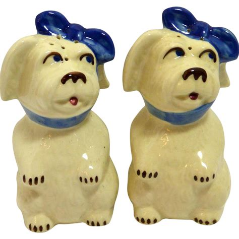mugsy dogs shawnee mugsy salt pepper shakers c 1940 s from a dogs tale collectibles on