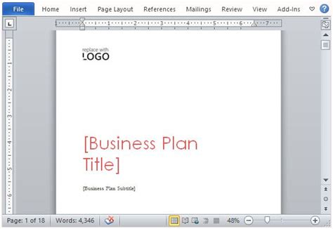 Business Plan Template For Microsoft Word Microsoft Word Business Plan Template