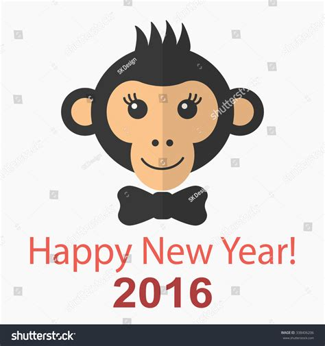 happy new year monkey in happy new year 2016 card with monkey vector