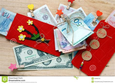 change money for new year tet envelope lucky money stock photo image