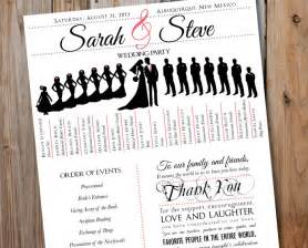 Program Fans For Wedding Ceremony Wedding Program With Wedding Party Silhouettes Digital