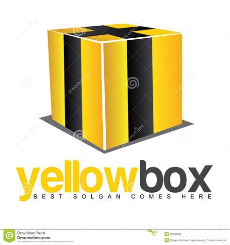 3d yellow box black stripes logo royalty free stock photos