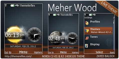 nokia c2 beautiful themes meher wood live theme for nokia x2 00 c2 01 240 215 320