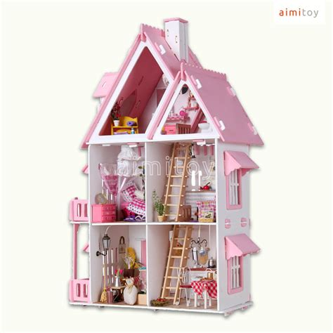 dolls house big w a67 big wood doll house 3 floors single house w furnitures diy kit toy miniature