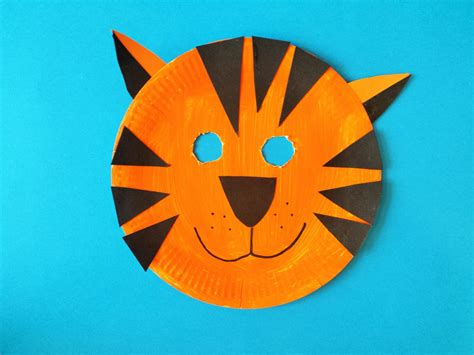 Tiger Paper Plate Craft - how to make a tiger mask babycentre