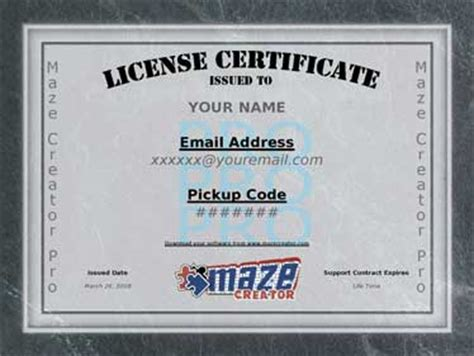 software license certificate template maze creator newsletter may 2010