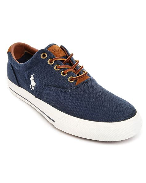 polo shoes polo ralph vaughn woven navy blue sneakers in blue