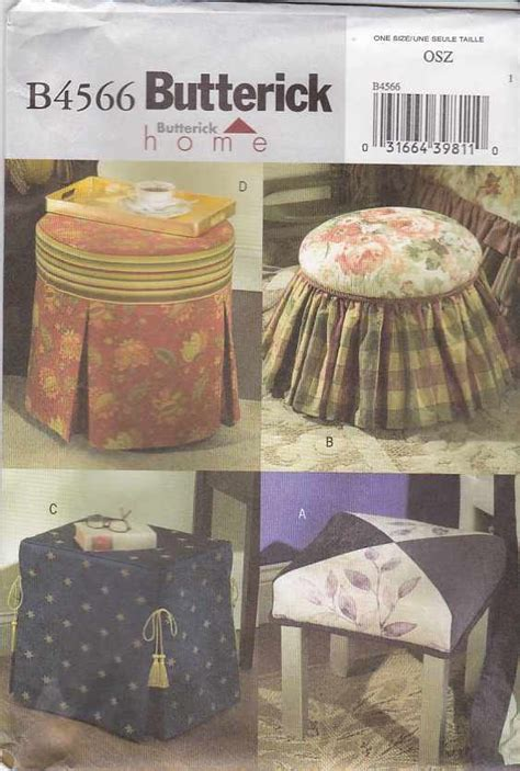 directions for making an ottoman slipcover butterick sewing pattern 4566 footstool ottoman tuffet