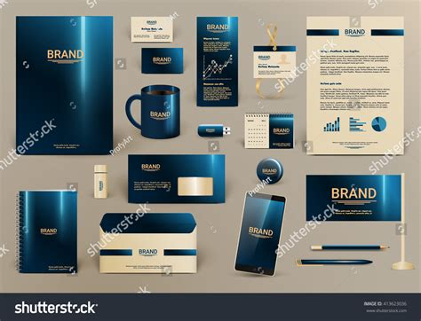 branding kit template blue luxury branding design kit hotel stock vector