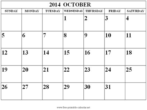 october 2014 calendar printable template http www