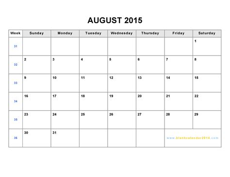 2015 calendar printable free large images 8 best images of blank august 2015 calendar printable