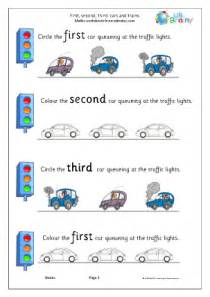 first second and third cars ordering numbers maths