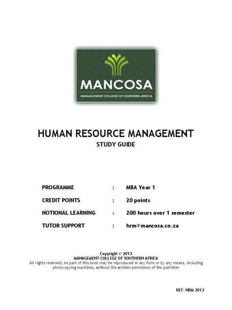 Human Resource Management For Mba Students Pdf by Mba1 Human Resource Management Jan 2013 Human Resource