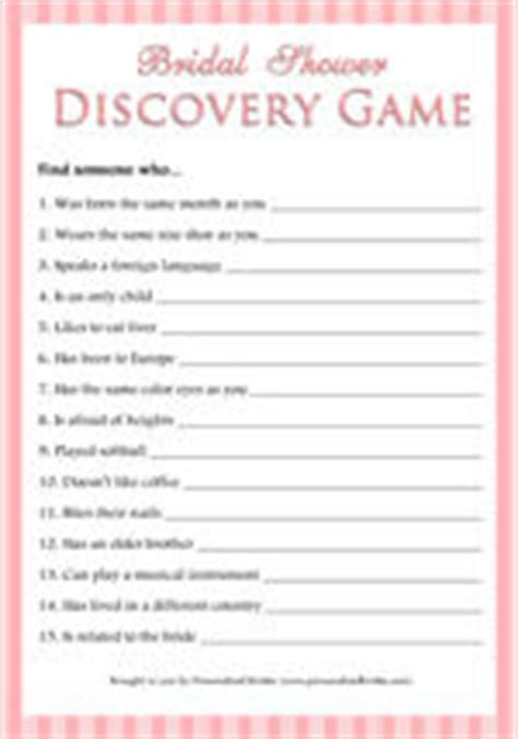 bridal shower discovery game free printable wedding freebies free printable bridal shower games