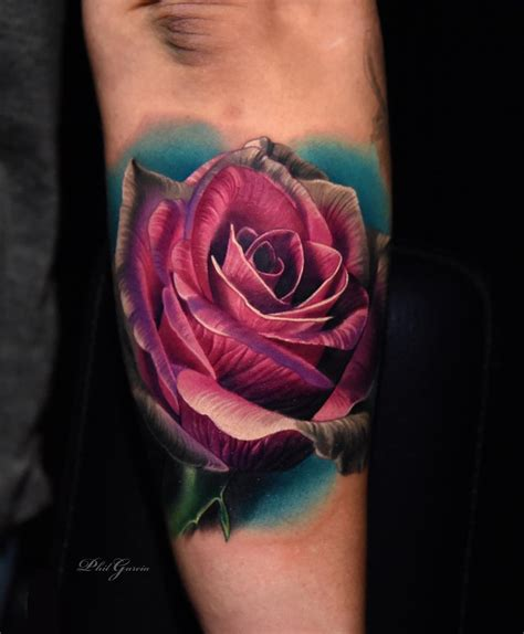 coloured rose tattoo color tattoos by phil garcia