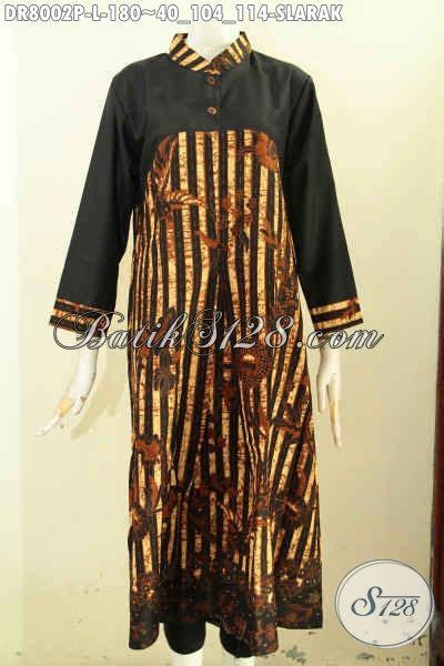 Baju Batik Lengan Panjang Baju Pesta Batik D405 model dress batik elegan modern yang design simple lengan