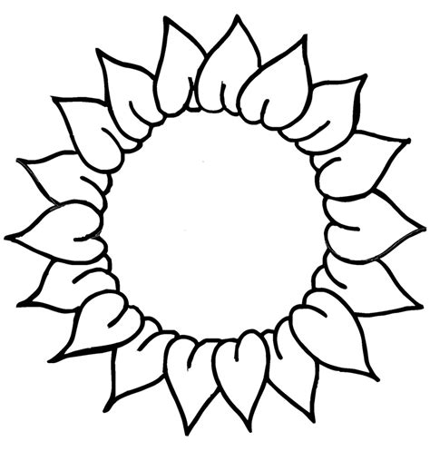 sun flower template sunflower line cliparts co