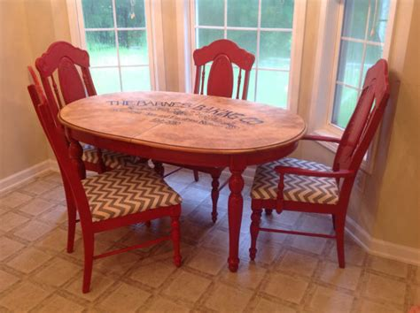 Rustic Kitchen Table And Chairs Rustic Kitchen Table With Chevron Seated Chairs By Kdiddles 350 00 Home Decoras