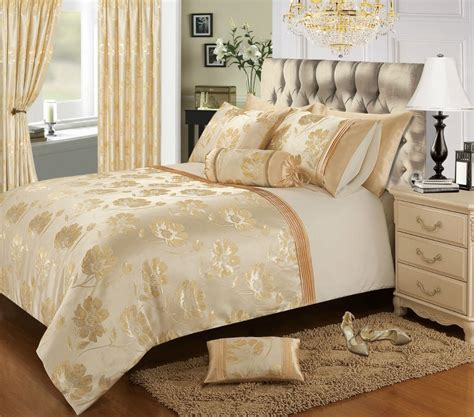 glamorous bedding cream gold colour stylish floral jacquard duvet cover