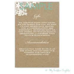 Rustic Wedding Program Templates Rustic Lace Wedding Information Card Template Free Sample