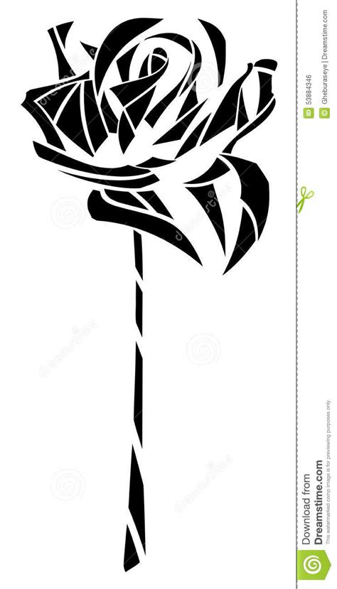 stylized artistic isolated rose tattoo stock vector