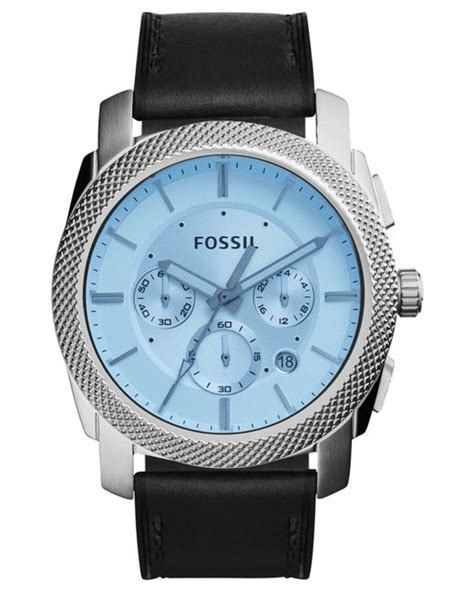 Fossil M2695 Silver Black Leather fossil s chronograph machine black leather